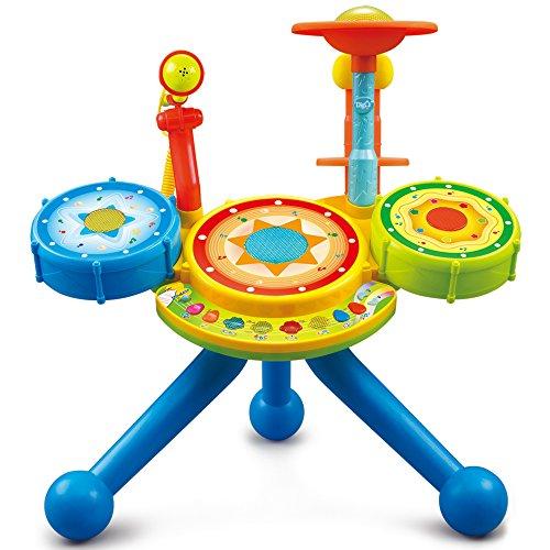 Instrumento Musical Para Bebes y Nios Pequeos - Bateria Electrica De Juguete Con Luces Y Sonidos Microfono Y Banco Incluido - Juguetes Interactivos Y Educativos Para El Aprendizaje De Tus Hijos