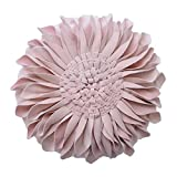 JWH 3D Sun Flower Accent Pillows Hand Crafted Round Cushion Decorative Pillowcases with Insert Home Sofa Bed Living Room Decor Gifts 14 Inch / 35 cm Cotton Canvas Velvet Rose Gold