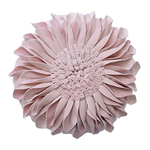 JWH 3D Sunflower Accent Pillow Hand Craft Round Cushion Decorative Pillowcase with Pillow Insert Home Sofa Bed Living Room Decor Gift 14 Inch / 35 cm Cotton Canvas Velvet Rose Gold