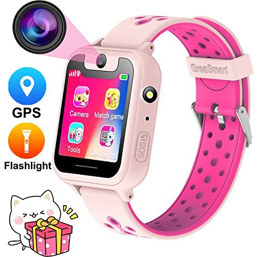 Kids Smartwatch with GPS Tracker Phone Remote Monitor Camera Touch Screen One Game Anti Lost Alarm Clock App Control by Parents for Children Boys Girls Compatible with Android iPhone (01 S6 Pink)