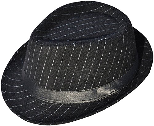 Simplicity Mens Cool Teardrop Crown Fedora Trilby Hat Pinstripe with Black Band]()