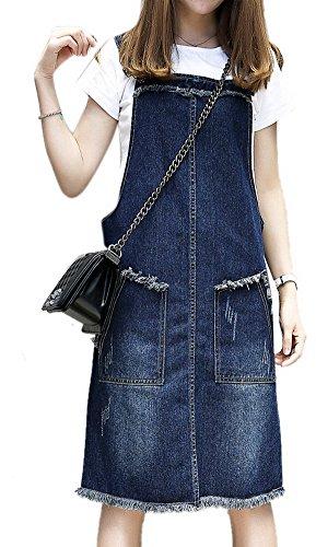 Women's Casual A-Line Plus Size Lightweight Denim Maxi Overall Dress Jeans Dresses 5XL Navy Blue (Denim Jean Overall Dress)