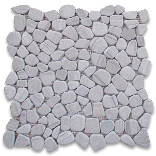 Athens Grey Wood Grain Marble River Rocks Pebble Mosaic Tile Tumbled