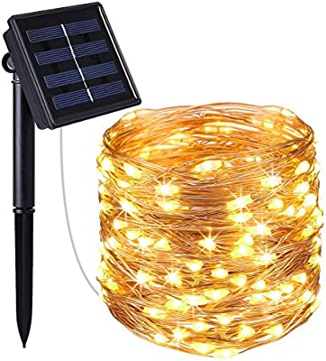 Solar Powered Decoration Lights for Garden Christmas Warm White Starry String Lights Patio 72ft 200 LED Solar Led Fairy String Light OxyLED Solar String Lights Outdoor Party Wedding Home