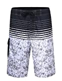 unitop Men's Summer Holiday Stripped Quick Dry Swim Trunks Gray 32