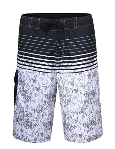 Unitop Men's Summer Holiday Stripped Quick Dry Board Trunks Gray Striped (Mens Striped Pocket)