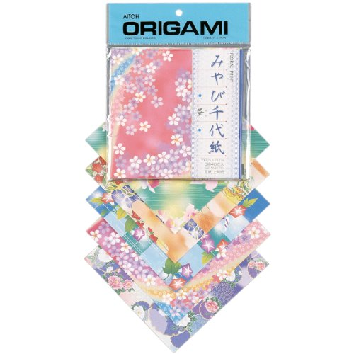 Aitoh Floral Print Origami Paper, 5.875 by 5.875-Inch, 40 ()