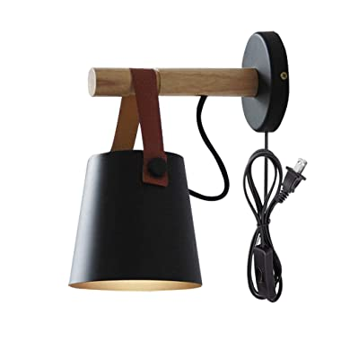 Kiven Iron Art Belt Wall Lamp UL Certification Plug-in Button Cord Lighting Round Bucket Loft Style Wall Lamp for Bathroom Dining Room Cafe Bulbs Not Included (Black)