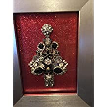 Framed Jewel Christmas Tree made with collected jewelry and baubles