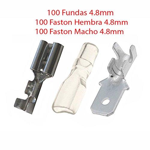 Pack 200X Terminal Faston 4.8 mm 100 Hembras y 100 Machos 100 Fundas Transparentes 4.8