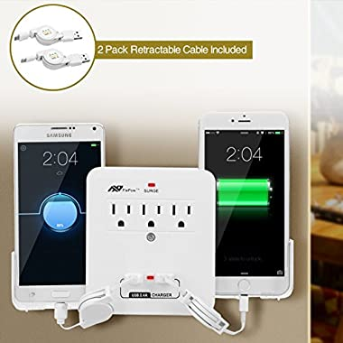 Wall Socket, FlePow 3-Outlet Surge Protector/Power Strip with 2-USB Charging Port and 2 Slide-out Holders+1*8 Pin and 1* Micro USB Retractable Cable for Iphone, Ipad and Micro USB Powered Device