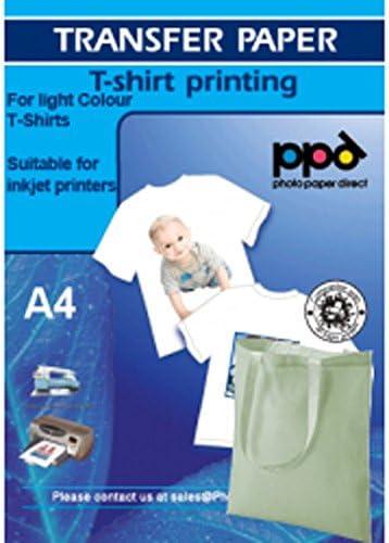 PPD Papel de transferencia para Camisetas Blancas impresión de inyección de tinta + bolsa de algodón gratis A4 X 50 Hojas PPD-1-50-50BAG: Amazon.es: Oficina y papelería