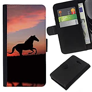 EJOY---La carpeta del tirón la caja de cuero de alta calidad de la PU Caso protector / Sony Xperia M2 / --animales lindos del caballo
