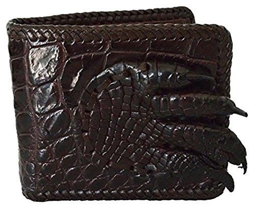(Authentic M Crocodile Skin Men's Bifold Big Hand Foot Claw Crocodile Shiny Leather Weave Wallet (Dark Brown))