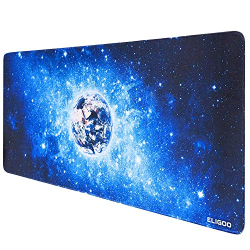 Anpollo Alfombrilla Raton Ordenador XXL Gaming Grande 900x400mm, Lavable, Base de Caucho para Gamers, PC y Portatil (Star Planet Earth)