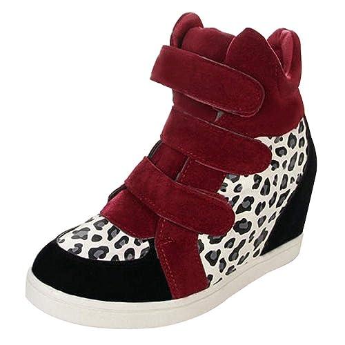 Zapatillas Planas Tacón Alto,Mujeres Leopardo impresión Ocultos talón Flock Moda cuña Zapatos Casuales Zapatos Plataforma para Mujer Zapatillas Deportivas ...