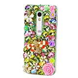 STENES Moto G4 Play/Moto G Play Case - 3D Handmade Luxury Sparkly Crystal Design Bling Hybrid Cover Drop Bumper Protection Case With Retro Bows Anti Dust Plug -Crystal Bee Rose Flowers/Green