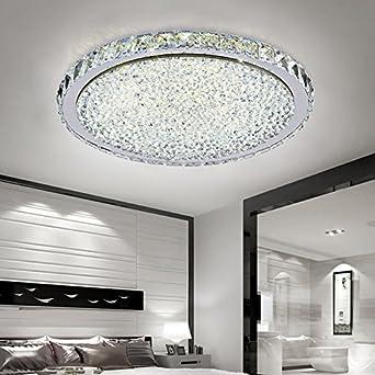 ETiME 24W Deckenleuchte Kristall LED Ø32cm Deckenlampe Rund Kaltweiß  (6000K-6500K) Wohnzimmer Schlafzimmer Esszimmer Lampe (24W Ø32cm Kaltweiß)