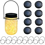 8-Pack 20 LEDs Solar Mason Jar Lid String Lights,Black Paint Cap Rings,Led Fairy Firefly String Lights,Fits Regular Mouth Mason Jars,8 Hangers included(No Jars),Best Wedding Yard Garden Lighting Decor