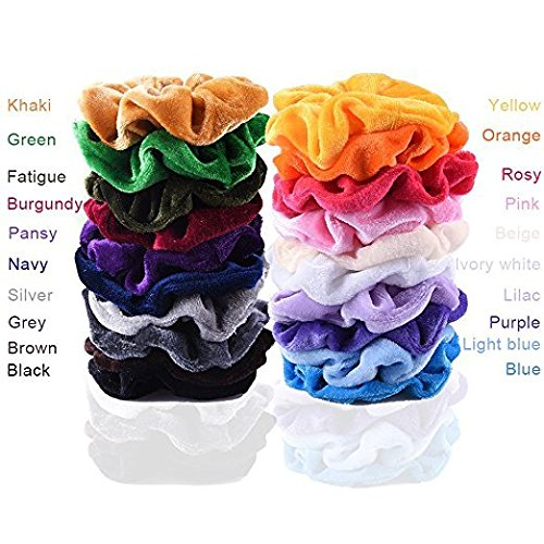 EAONE 20 Pack Hair Scrunchies Velvet Elastics Hair Ties Bright Colorful Scrunchy Bobbles Bands, 20 Colors by EAONE