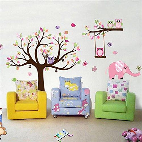 [Free Shipping] Removable Owl Tree Branch Vinyl Art Wall Sticker Home Decal Decor Baby 200x142cm // Autocollant mural d'art en vinyle de branche d'arbre de hibou amovible bébé de décor de décalque de famille 200x142 centimètres