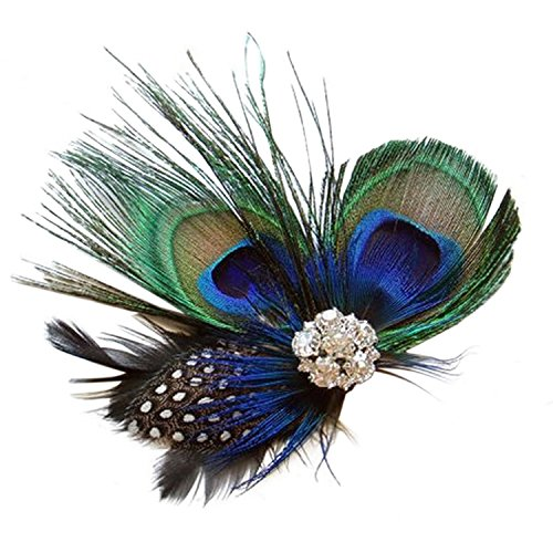 Fascinator Peacock Feather Hair Clip Wedding Headwear Party Headpiece for Women]()