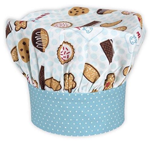 Handstand Kitchen Child's 100% Cotton 'Milk and Cookies' Adjustable Band Chef's Hat ()