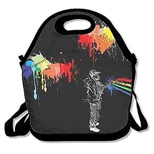 Cool Art Waterproof Reusable Neoprene Picnic Travel Tote Lunch Bag With Adjustable Shoulder Strap For Men Women Adults Kids Toddler Nurses