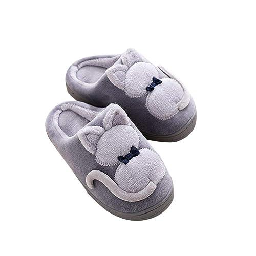 Niños Niñas Otoño Invierno Zapatillas Suave Felpa Pantuflas Cartoon Gato Algodón Zapatos: Amazon.es: Zapatos y complementos