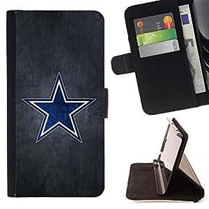BullDog Case - FOR/HTC One M7 / - / Blue Star Sports Team /- Monedero de cuero de la PU Llevar cubierta de la caja con el ID Credit Card Slots Flip funda de cuer