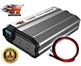 refrigerator battery backup - HammerDown 1100 Watt 12V Power Inverter - Dual 110V AC outlets, Automotive back up power supply for refrigerators, microwaves, Blenders, vacuums, power tools and more. MET approved to UL and CSA