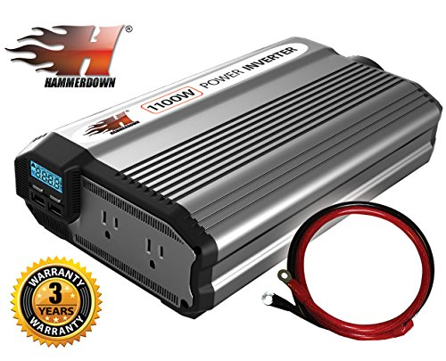 HammerDown 1100 Watt 12V Power Inverter - Dual 110V AC outlets, Automotive back up power supply for refrigerators, microwaves, Blenders, vacuums, power tools and more. MET approved to UL and CSA
