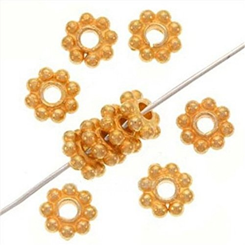 Bali Style Vermeil Beads - Beautiful Bead Bali 18K Bright Gold Vermeil Silver 6mm Spacer Daisies (100 Beads)
