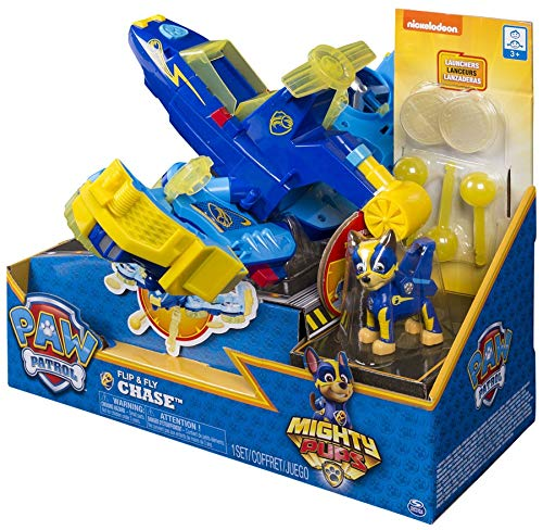 (PAW Patrol Mighty Pups - Chase's Flip & Fly, 2-in-1 Transforming Vehicle with Launchers, Walmart Exclusive, for Ages 3 and Up)