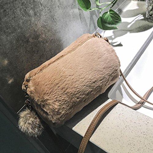 Shoulder Bag Bag Handbag Women's Bag Pretty Pillow Cute Shoulder Hunpta Candy Colors Plush Khaki Artificial 7qwxCq4d