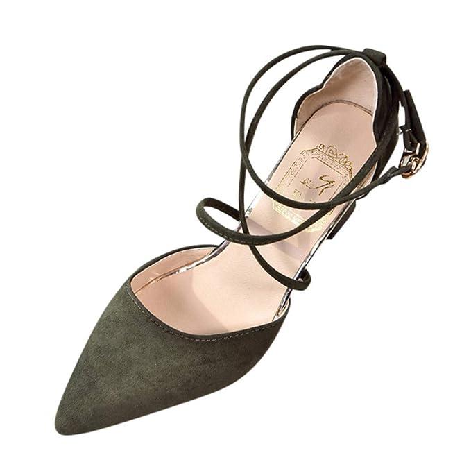 0dc8c595f91b3 Amazon.com: Sharemen Pointed Shoes 💗 Cross Straps Wedding Shoes ...