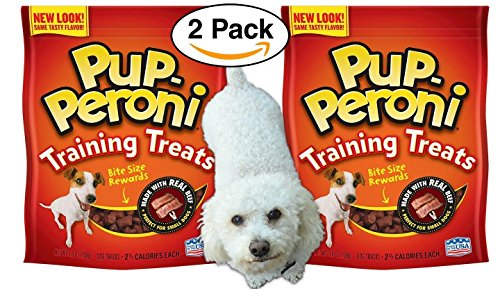 51E5G522ivL - 2 pack Pup-Peroni Training Treats / Snacks, Real Beef BITE SIZE, 5.6 OZ – perfect for small dogs