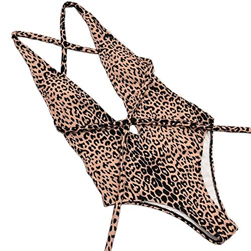Poliphili Women's High Cut Leopard Snake Print Multi-Way Bandage Backless One Piece Monokini Swimsuits Plunge V Neck Sexy Thong High Waist Bathing Suits (S, Leopard 1)