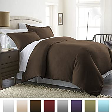 Beckham Hotel Collection® Luxury Soft Brushed 1800 Series Microfiber 3 Piece Duvet Cover Set - King/Cal King, Chocolate