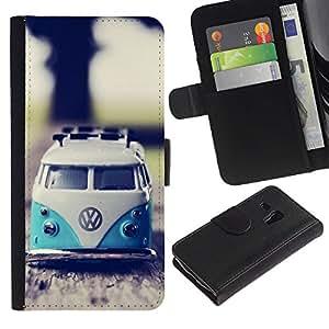 Paccase / Billetera de Cuero Caso del tirón Titular de la tarjeta Carcasa Funda para - hippie bus 70's weed culture van - Samsung Galaxy S3 MINI NOT REGULAR! I8190 I8190N