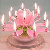 NO:1 Happy Birthday Musical Candle Blooming Lotus Party Light Decoration Pink