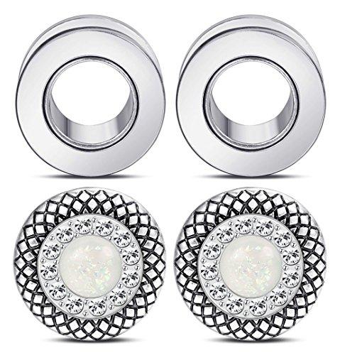 LOYALLOOK 2Pairs Stainless Steel Screw Tunnels Ear Stretcher Plugs Kit Lotus Edge Expander Body Piercing Set 0g Gauge Piercing