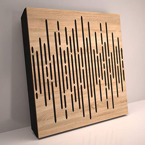 4pcs. Sound Absorption-Diffuse Acoustic Panel «Wave» for rec.studio | Wood laminated: (Sonoma)