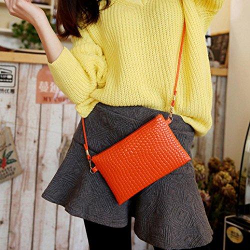 Bag Shoulder Bag Women Handbag Solid Pattern Leather Muium Crocodile Ladies Orange Fashion Crossbody UZYyfw