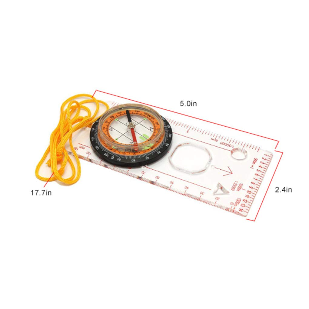 Topker Outdoor Camping Directional Cross-country Race Hiking Special Compass Baseplate Ruler Map Scale Compass