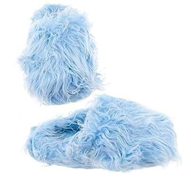 Light Blue Fuzzy Slippers for Women L 8-9