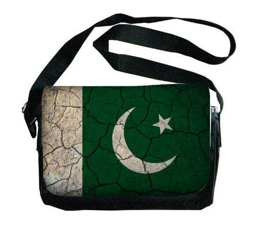 パキスタンフラグCrackledデザインメッセンジャーバッグ   B00FMFMUD8