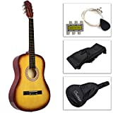 Kseven 38'' Beginners Acoustic Guitar 6 String with Pick, Practice Music Instrument, Starter kit Bundle Case Strap Tuner Extra Strings (Yellow)