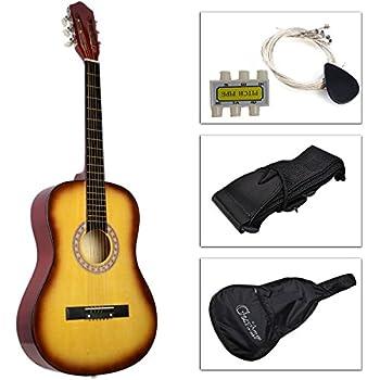 kseven 38 beginners acoustic guitar 6 string with pick practice music instrument. Black Bedroom Furniture Sets. Home Design Ideas