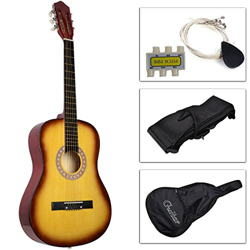 Kseven 38'' Beginners Acoustic Guitar 6 String with Pick, Practice Music Instrument, Starter kit Bundle Case Strap Tuner Extra Strings (Yellow) by KSEVEN